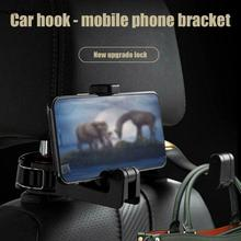 lovely pu cell phone holder w hook for car black red 2 in 1 headrest hook & phone holder Auto Car Headrest Seat Back Hook Hanger Cell Phone Holder Stand Clip Tools Auto Coat Hanger