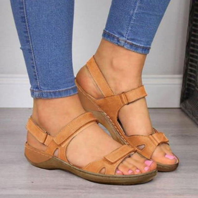 2020 New Women Sandals Soft Three Color Stitching Ladies Sandals Comfortable Flat Sandals Open Toe Beach Shoes Woman Footwear 1