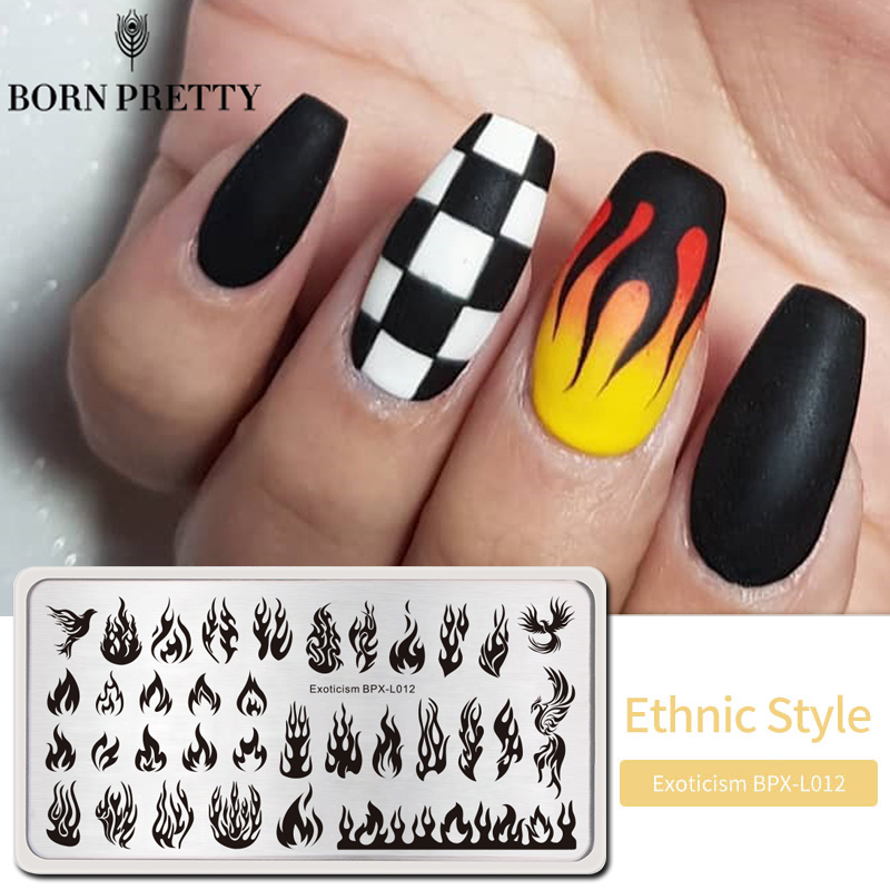 BORN PRETTY Fire Nail Stamping Plates Blaze-Series Rectangle Template  Nail Art Image Plate Exoticism Stencils