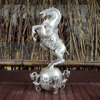China old Feng Shui ornaments white Copper Silver plating Horse heaven and earth