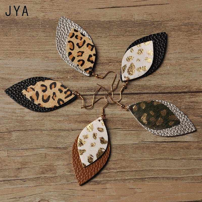 JYA Genuine Leather Earrings for Women Leaf Multicolor Leopard Statement EarringsTrendy 2018 Fashion Jewelry New Hot Wholesale