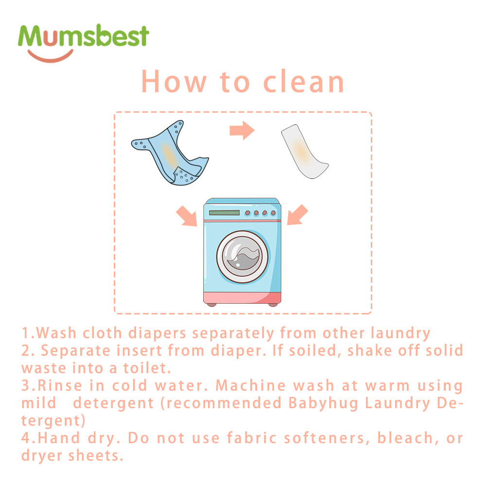 Купить с кэшбэком [Mumsbest] 100% Charcoal Bamboo Inner Baby Washable Cloth Nappy  Reusable Pocket Diaper Suit 0-2 years 3-15kg