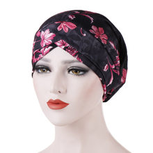 India Cap Turban Hat Muslim Hijab Islamic Printed Colored Cloth Turban Hat Forehead Cross Nightcap Muslim Toque Scarf Headwraps(China)