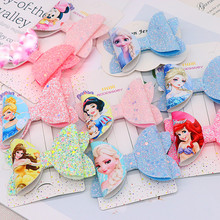 Disney Frozen Princess Aisha Children's Hairpin Print Bow Hairpin Headdress Girl Hair Accessories Christmas Birthday Gift