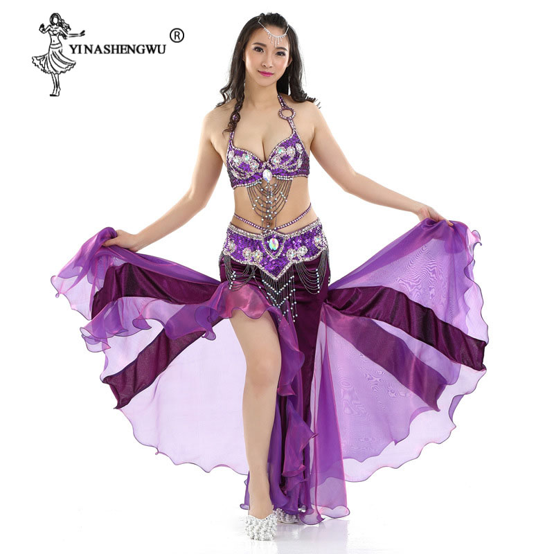 Women Belly Dance Costumes Set Adult Sexy Flannel Split Skirt Oriental Dance Performance Stage Clothing Danceer Bra Belt Skirt