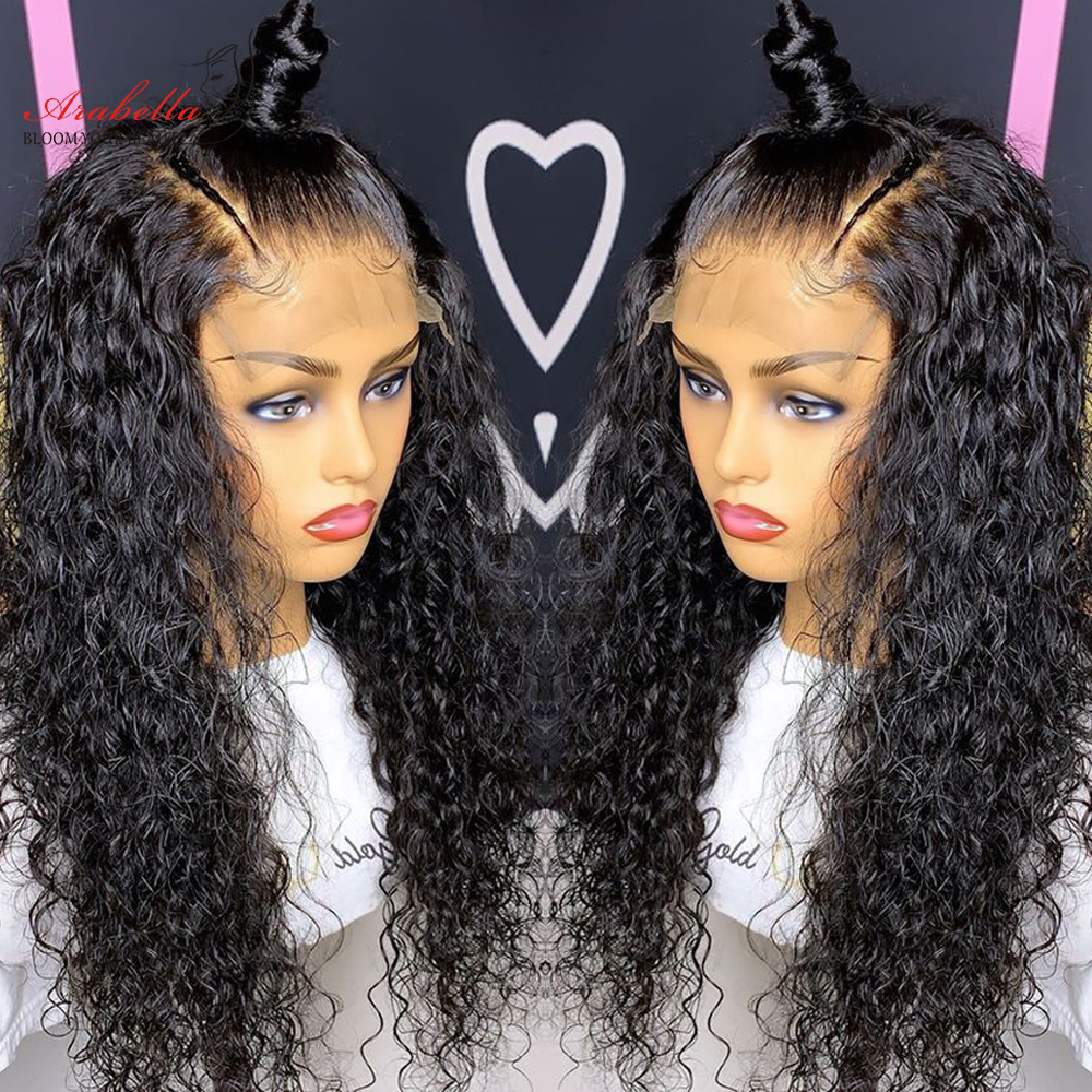 Transparent Lace Front Wig Water Wave  Wig Pre Plucked Lace Wig With Baby Hair  13X4 Lace Frontal Water Curly Wig 3
