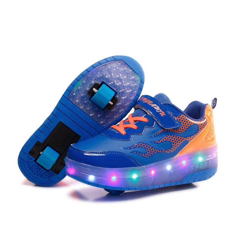 RISRICH Kids Shoes With LED Lights For Boys Girls Light Up Sneakers With Wheels Kids Roller Skate Shoes Zapatillas Con Ruedas