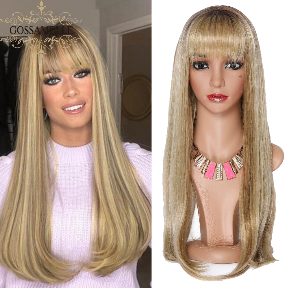 Gossamelle Ombre Blonde Synthetic Wigs With Bangs Highlight Straight Wigs For Black Women High Temperature Hair Peruca