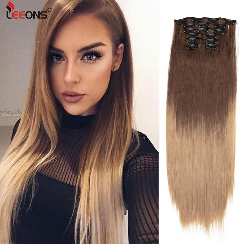 Leeons-extensiones de cabello sintético para mujer, 16Clips de extensión de cabello de 22 pulgadas, Clip en 1, 16 Uds.