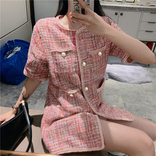 Womens jacket coat Long style tweed Woven wire fabric spring / autumn new Wool classic Short sleeve Ladies woolen