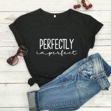 Отлично несовершенной христианской instant quote футболка женская мода чистый хлопок, свободный покрой, широкие гранж религия эстетическое футб...