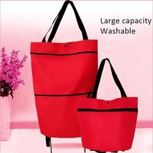 Foldable Shopping Trolley Tote Bag Oxford Cloth Folding Shopping Large Capacity Trolley Bags Reusable Eco-friendly Bag Handbags