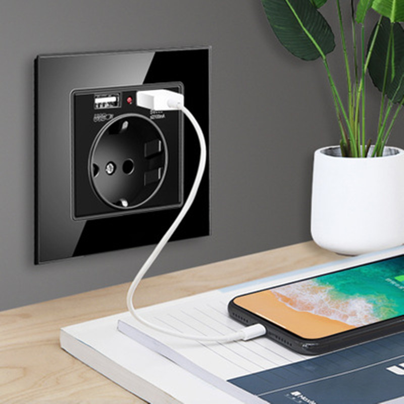 13A Round Hole With 2 USB Chargering Phone Useful EU Standard Socket,Crystal Glass Panel Outlet 2.1A Dual USB Charger Port