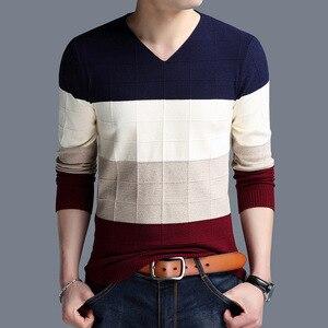 Мужской шерстяной пуловер, Осень-зима, теплый, толстый, лоскутный, v-образный вырез, приталенный, брендовая одежда, вязаный, Повседневный, хло...