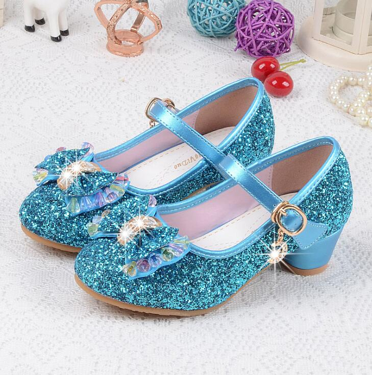 Girls Leather Wedding Shoes Baby Children's Sequins Princess Sandals Enfants Kids High Heels Dress Party Shoes for Girls