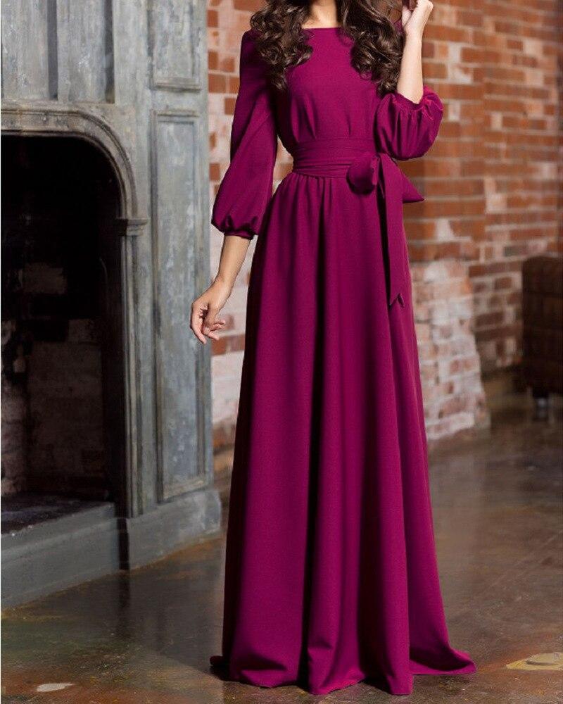 Winter Lantern Sleeve Maxi Long Dress