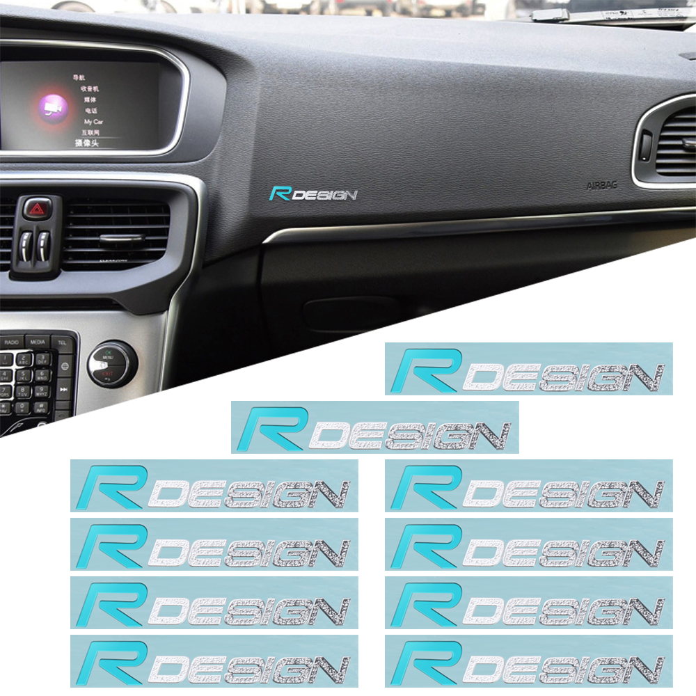 10Pcs Rdesign Emblem Car Interior multimedia nickel Sticker For <font><b>Volvo</b></font> R DESIGN XC90 S60 CX60 V70 S80 <font><b>V40</b></font> V50 S40 XC70 V60 C30 image