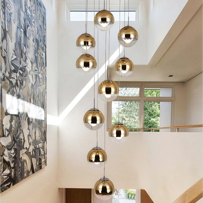 lowest price Nordic Glass Mirror Ball Chandelier Lighting Gold Silver Glass Ball Lamps Kitchen Living Room Bedroom lustre Glass Chandeliers