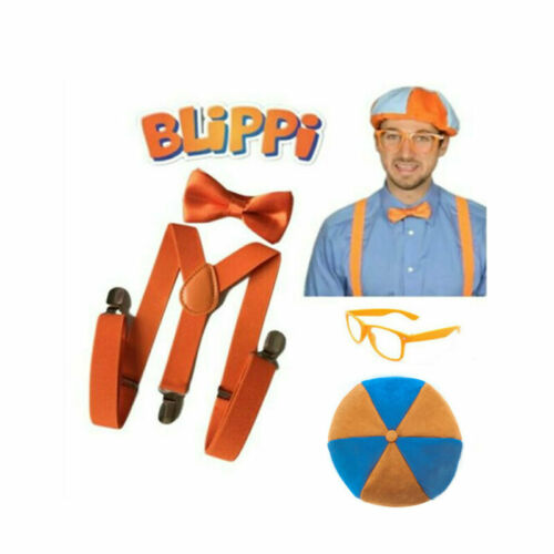 TV Show Blippi Kids Cosplay Set Tie Bow Trousers Strap Braces Hat Glasses Educational Gift Present