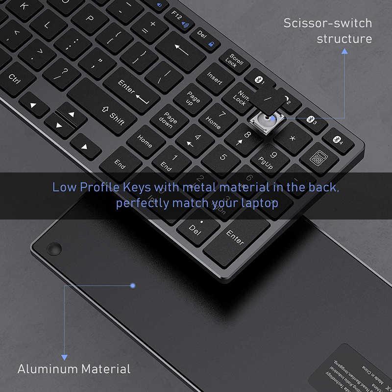 Seenda bluetoothキーボードアルミ合金マルチデバイスワイヤレス充電式ロシアワイヤレスキーボード 4-デバイスの同期