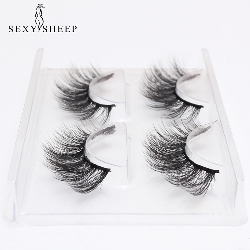 SEXYSHEEP 2 Pairs Natural False Eyelashes Fake Lashes Long Makeup 3D Mink Lashes Eyelash Extension Mink Eyelashes For Beauty
