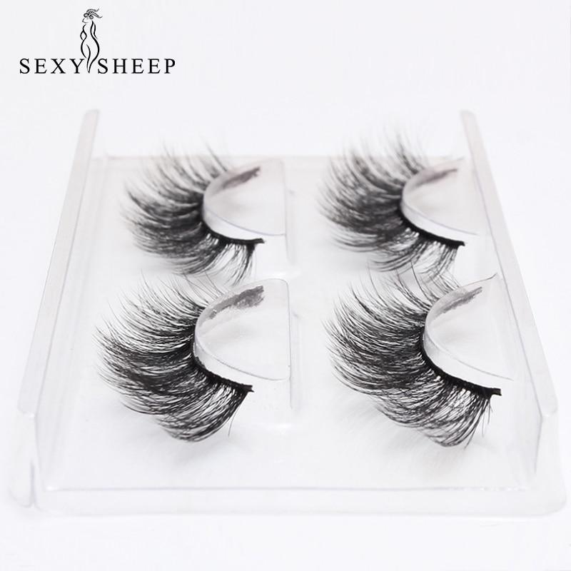 SEXYSHEEP 2 Pairs Natural False Eyelashes Fake Lashes Long Makeup 3D Mink Lashes Eyelash Extension Mink Eyelashes For Beauty