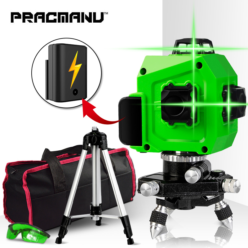 PRACMANU nivel láser verde 12 líneas 3D nivel autonivelado 360 Horizontal y Vertical Cruz Super potente láser verde nivel