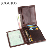 JOGUJOS New Genuine Leather Men Rfid Wallet Zipper Male Portomonee Short Wallet For Man Coin Purse Business Credit Card Holder
