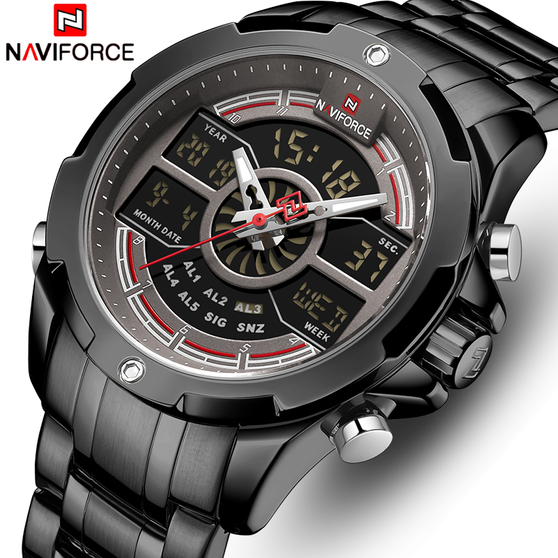 NAVIFORCE Top Brand Men's Sports Quartz Watch Men Full Steel Waterproof Digital Watches LED Analog Male Clock Relogio Masculino