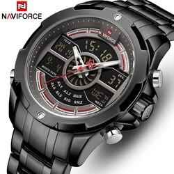NAVIFORCE Top marka męska sport zegarek kwarcowy mężczyźni pełna stal wodoodporne zegarki cyfrowe LED analogowy męski zegar Relogio Masculino Zegarki kwarcowe    -
