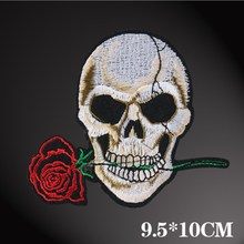 Embroidered Skull Head Rose Cloth Patch Patch Men And Women Jeans Patch Patch Applique Ghost Head Badge embroidered rose patch tee dress