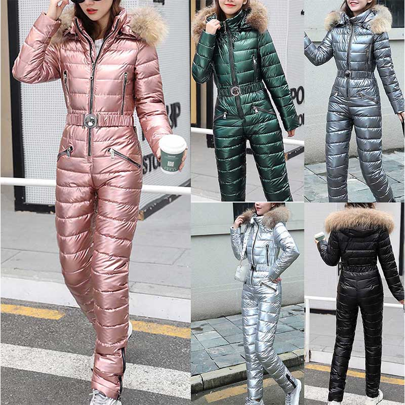 Women Fashion One Piece Ski Jumpsuit Casual Thick Winter Warm Snowboard Skisuit Outdoor Sports Skiing Pant Sets Zipper Ski Suit