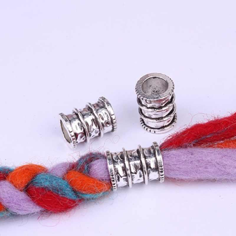 5 Pcs עתיק כסף שיער צמת Dread Dreadlock חרוזים טבעות צינור כ 7-10mm הפנימי חור רטרו גדול חור סגסוגת חרוזים תכשיטים
