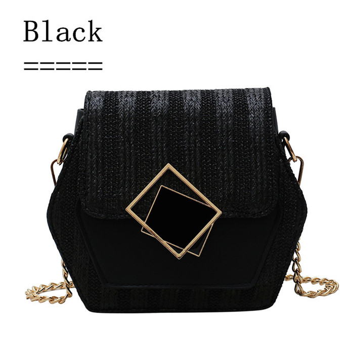 Hc85bba6920d74a999940edc9035e768cM - Handbag Women Summer Rattan Bag Hexagon Mulit Style Straw+leather Handmade Woven Beach Circle Bohemia Shoulder Bag New Fashion