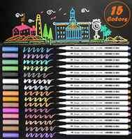 Metallic Marker Pens 15 Color Soft Brush Tip Art Markers Sheen Glitter Painting Pen Card Making DIY Photo Album Scrap booking