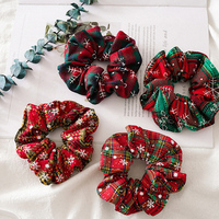 Christmas Snowflake Print Scrunchie For Women Girls Elastic Hair Bands 2021 New Hair Rope Ties Fashion Hair Accessories
