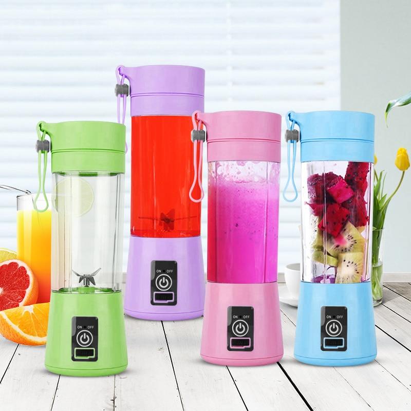 380Ml Usb Rechargeable Blender 6 Blades Juicer Bottle Cup Juice Lemon Vegetables Fruit Smoothie Baby Food Juicer Dropshipping