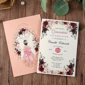 50pcs Pink Navy Blue Gold Burgundy Vertical laser cut  Universal Engagement Anniversary party wedding invitation