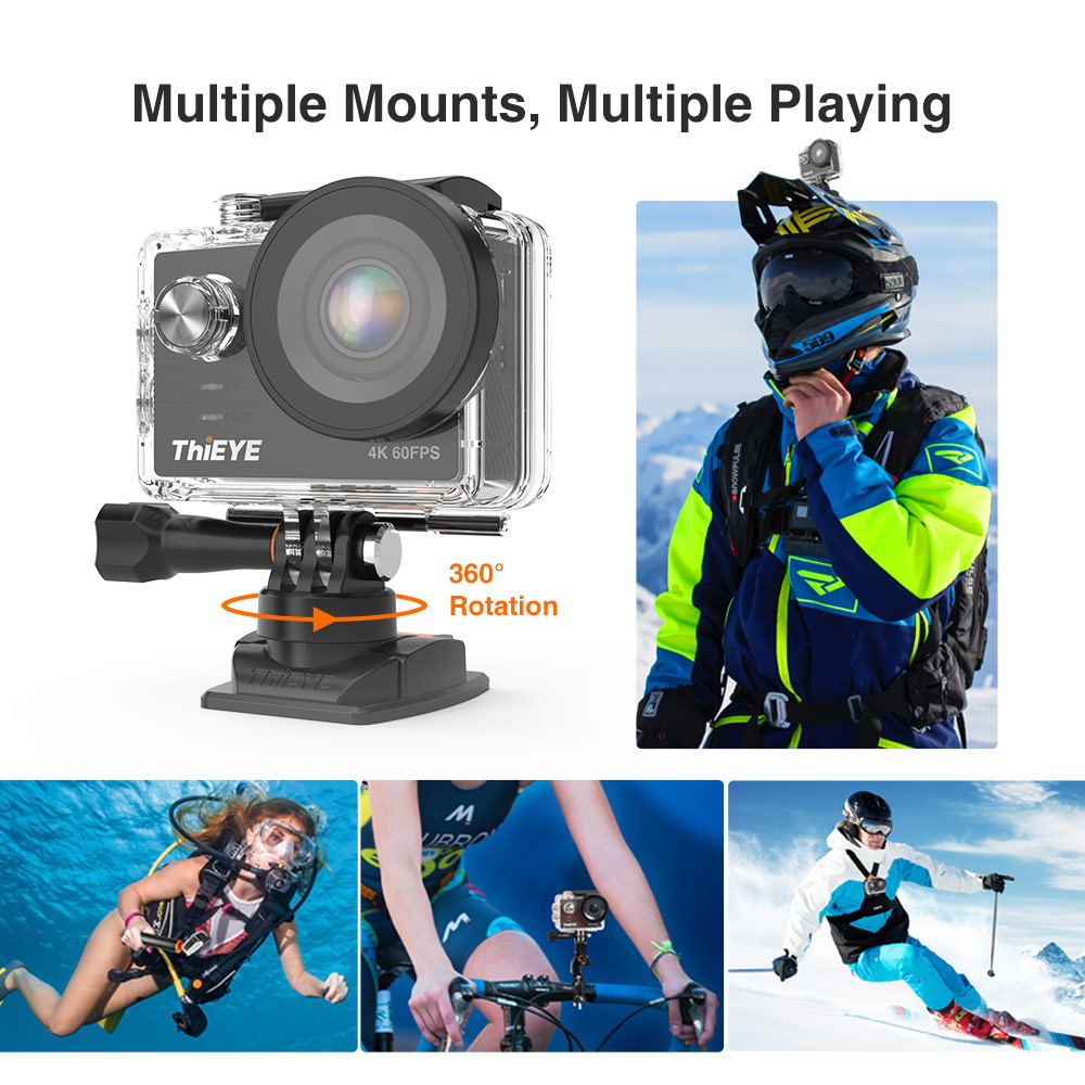 Image 5 - ThiEYE T5 Pro With Live Stream WiFi Action Camera Real 4K Ultra HD Sport Cam with EIS Distortion Remote Control 60M Waterproof-in Sports & Action Video Camera from Consumer Electronics