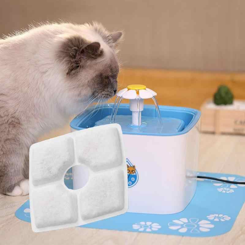 1 adet hayvan kolaylık otomatik Pet kedi köpek su çeşmesi içme suyu beyaz kare besleyici Pet çanak filtre