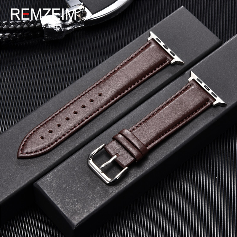 Calfskin Casual Leather Watchband 42mm 44mm Strap for Apple Watch 5 4 3 2 1 Soft Leather Band 38mm 40mm for Apple Smart Watch