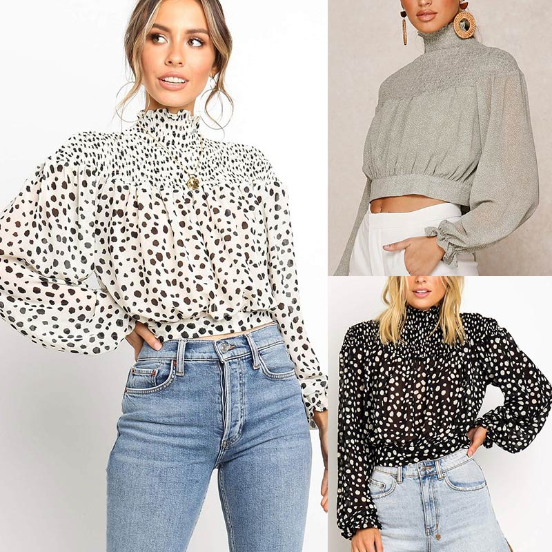 Women's Chiffon Blouse Vintage Leopard Print Shirts Lace Up Straps Half-high Collar White Lady Shirt 2019 Autumn Casual Blouses