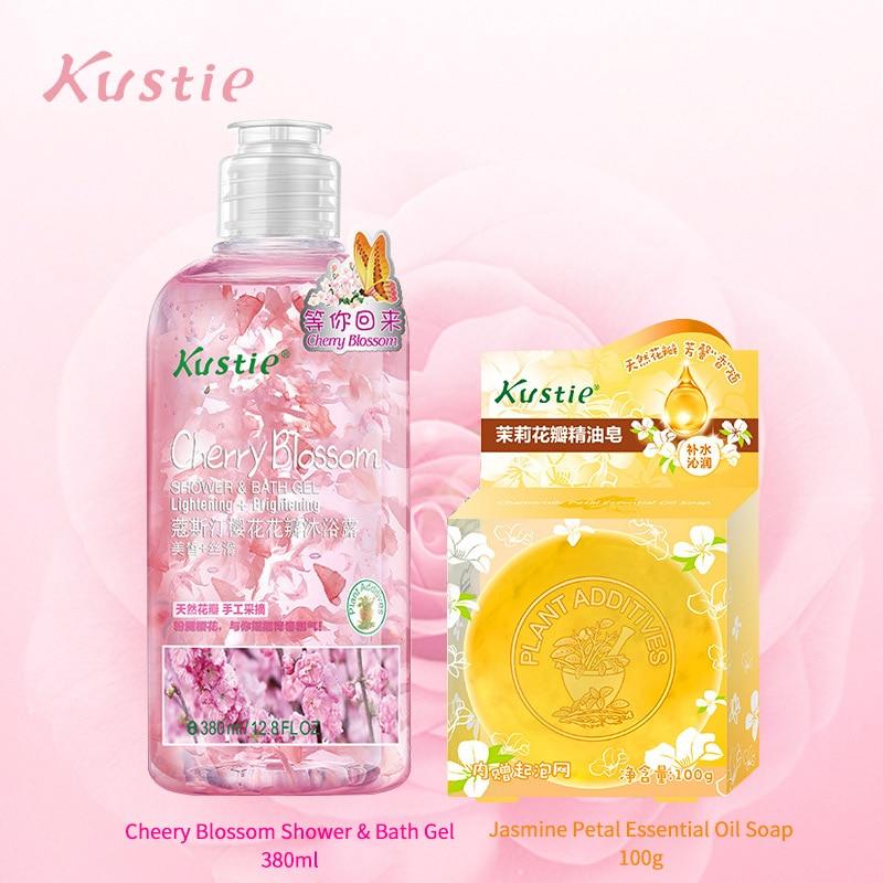Kustie Body Deep Clean Bath Set 380ml Cherry Shower Gel And 100g Jasmine Essential Oil Soap Ensemble Autumn Winter Hydration Set