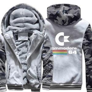 Image 3 - Commodore 64 sweats à capuche pour hommes C64 vestes automne hiver épais chaud Camouflage à capuche à capuche 2019 nouveau Streetwear hommes veste à capuche