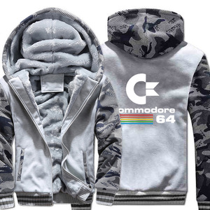Image 3 - Commodore sudaderas con capucha C64 para hombre, chaqueta gruesa y cálida de camuflaje con capucha, ropa nueva, chaqueta con capucha, otoño e invierno, 2019
