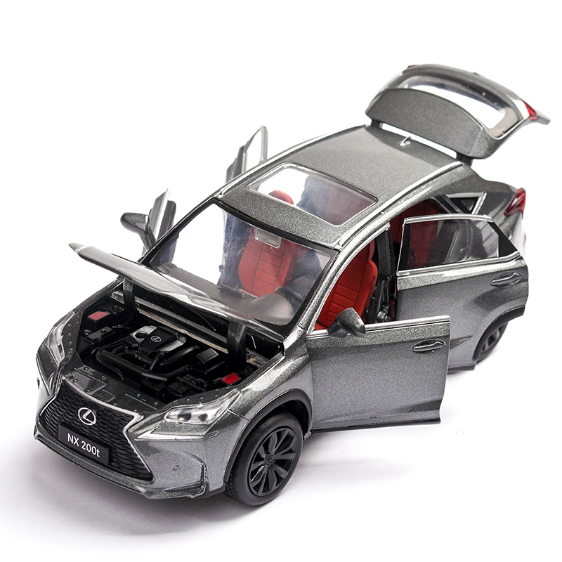 1:32 Genuine Authorization Lexus Nx200t Toy Car Alloy Silver Car Model Pull Back Sound Light Car Decoration 6 Doors Toy For Boys