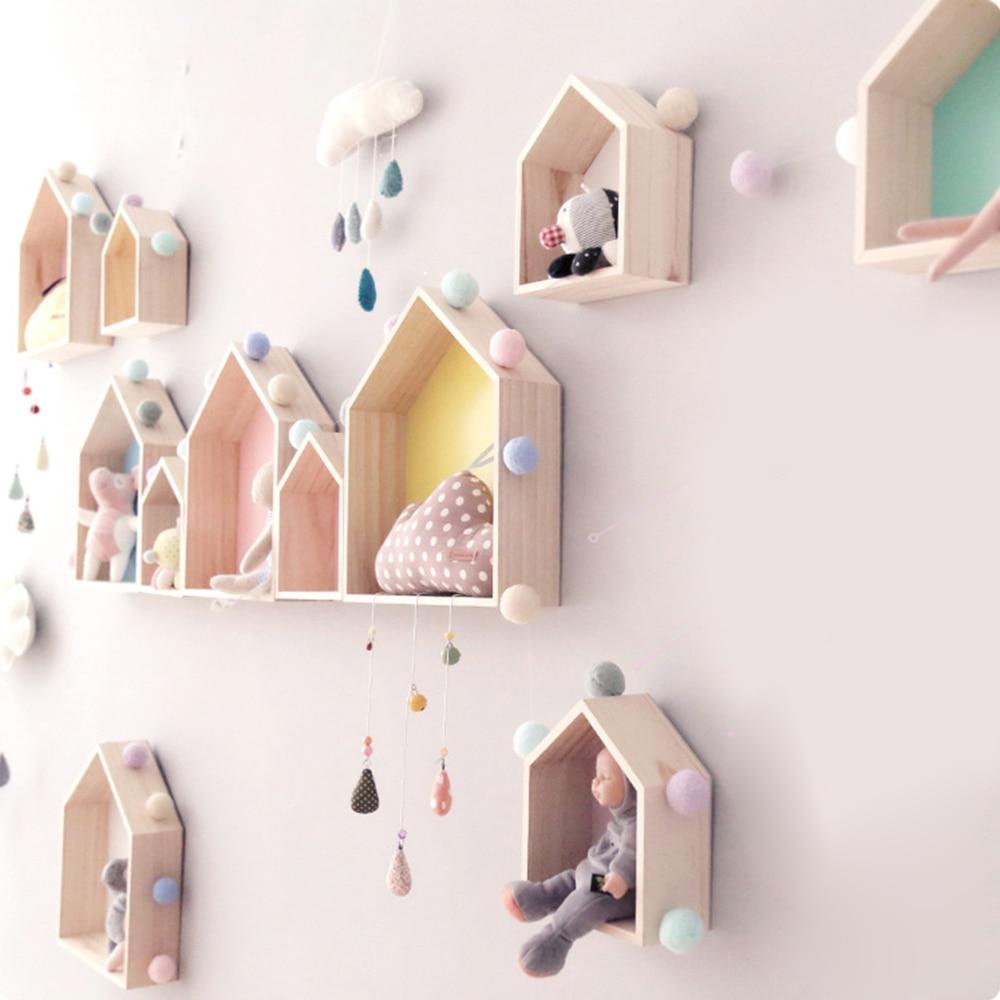 1PCS Wooden Small House Shelf Storage Rack Solid Wood Crafts Children Home Decoration Storage Wall Hanging Decoration|Decorative Shelves| |  - title=