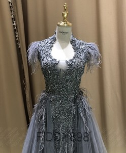 Image 3 - יוקרה שמלת ערב ארוך ערבית נוצת שרוול מבריק חרוזים נשף שמלה 2020 robe De Soiree Vestidos דה פיאסטה דה Noche