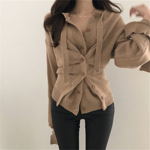 Mazefeng New 2019 Autumn Winter Women's Sweaters Button Asymmetrical Tops Korean Style Knitting Cardigans Ladies Sexy One Size