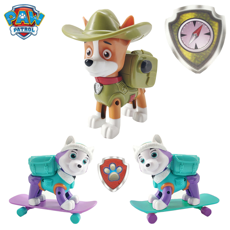 Paw Patrol Everest Tracker Dog Skateboard Puppies Snow Can Be Deformed Patrol Patrulla Canina Task Card Christmas Gift Toy